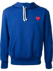 Comme Des Garcons Play Logo Patch Hoodie Blue