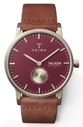 Triwa Ruby Falken Leather Strap Watch 38Mm Brown Red Gold