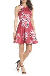 Sequin Hearts Floral Scuba Fit And Flare Dress Mixed Berry Ivory