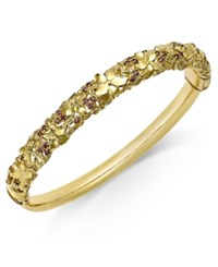 Macy's Garnet Floral Openwork Bangle Bracelet 3 4 Ct. Tw. In 14K Gold Plated Sterling Silver Yellow Gold