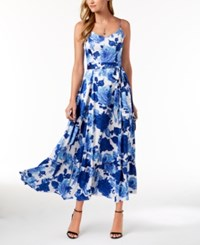 Betsey Johnson Belted Floral Print Maxi Dress Blue White