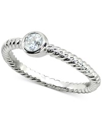 Giani Bernini Cubic Zirconia Stackable Bezel Twisted Ring In Sterling Silver