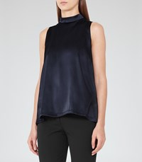 Reiss Blaire Womens High Neck Silk Front Top In Blue