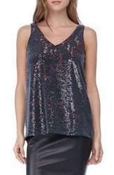 Michael Stars Women's Sequin V Neck Tank Black Pinot