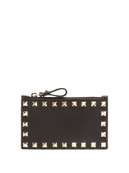Valentino Rockstud Leather Cardholder Black