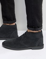 New Look Leather Desert Boot In Black Black