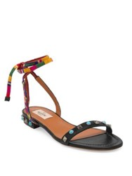 Valentino Rockstud Rolling Embroidered Leather Ankle Wrap Sandals
