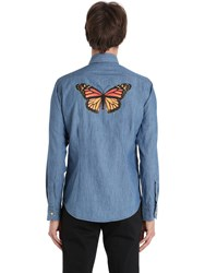 Eton Butterfly Print Cotton Denim Shirt