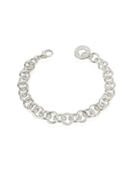 Torrini Coin 1369 Sterling Silver Rolo Chain Charm Bracelet