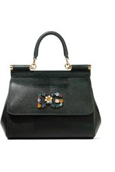 Dolce And Gabbana Sicily Small Embellished Lizard Effect Leather Tote Dark Green Usd