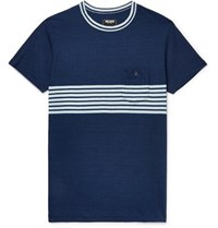 Todd Snyder Indigo Dyed Striped Cotton Jersey T Shirt