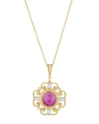 Penny Preville 18K Diamond Pink Sapphire And Moonstone Pendant Necklace