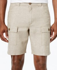 Tasso Elba Linen Shorts Only At Macy's Safari Tan Combo