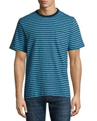 Faherty Short Sleeve Striped Tee Navy