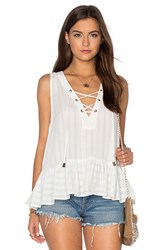 Maven West Lace Up Ruffle Tank White