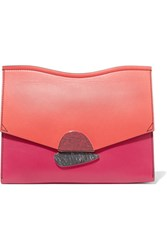 Proenza Schouler Curl Medium Color Block Leather Clutch Coral