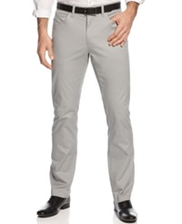 Alfani Red Slim Fit Cotton Stretch Pants Silver
