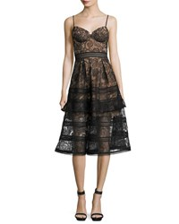 Self Portrait Paisley Lace Sleeveless Bustier Midi Dress Black