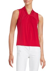 Calvin Klein Petite Knotted Knit Shell Red