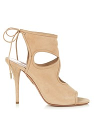 Aquazzura Sexy Thing Suede Sandals Nude