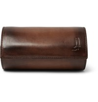 Berluti Polished Leather Watch Roll Brown