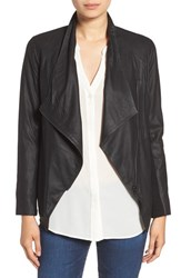 Bb Dakota Women's 'Kenrick' Drape Neck Leather Jacket Black