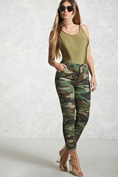 Forever 21 Camo Print Boyfriend Pants Dark Green Brown