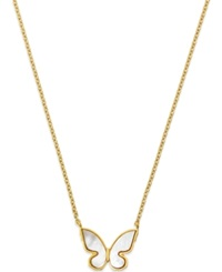 Kate Spade New York 12K Gold Plated Mother Of Pearl Butterfly Mini Pendant Necklace White