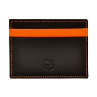 Huckle And Harper Black And Orange Lambskin Card Holder Black Yellow Orange