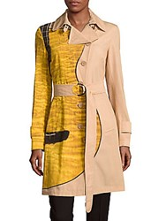 Akris Cotton Colorblock Coat Yellow