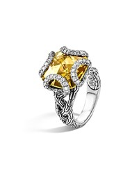 John Hardy Sterling Silver Classic Chain Medium Braided Ring With Citrine And Diamonds Silver Orange