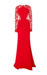 Cristina Ottaviano Contour Lace Long Sleeve Gown Red