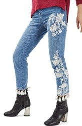 Topshop Women's Moto Floral Embroidered Straight Leg Jeans