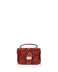 The Kooples Emily Snake Embossed Leather Mini Crossbody Red