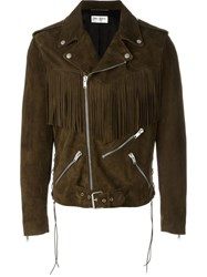 Saint Laurent Fringed Motorcycle Jacket Brown