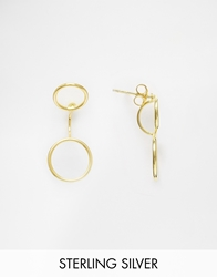 Asos Gold Plated Sterling Silver Open Circles Swing Earrings