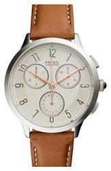Women's Fossil 'Abilene' Chronograph Leather Strap Watch 34Mm Brown Silver