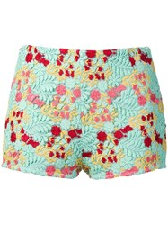 Giamba Multicoloured Embroidered Shorts Green