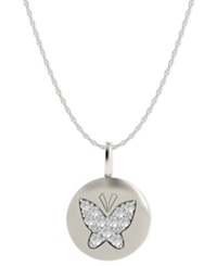 Macy's Diamond Butterfly Disk Pendant Necklace In 14K White Gold 1 10 Ct. T.W.