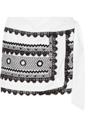 Dodo Bar Or Embellished Cotton Gauze Wrap Mini Skirt White