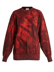 Aries Tie Dyed Cotton Sweatshirt Red