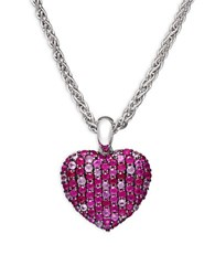 Effy 925 Pink Sapphire And Sterling Silver Heart Pendant Necklace