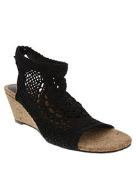 Nina Nevaeh Crochet Elastic Wedge Sandals Black
