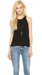 Enza Costa Cropped Sheath Tank Black