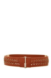 Fina Firenze Woven Stretch Waist Belt Brown