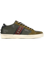 Leather Crown Studded Detail Sneakers Green