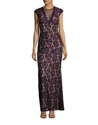 Betsy And Adam Lace Trumpet Gown Plum