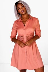 Boohoo Yvonne Lace Crochet Waist Shirt Dress Antique Rose