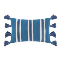 Amara Thick Stripe Tassel Cushion 40X60cm Blue