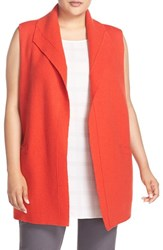 Eileen Fisher Plus Size Women's Boiled Wool Funnel Neck Vest Poppy